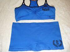 womens sports bra and shorts set workout gear blue