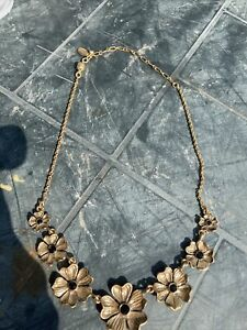 Pilgrim Pansy Flower Necklace Danish Design, Vintage costume Jewellery