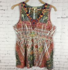 ONE WORLD TOP LARGE WOMEN'S COLORFUL EMBROIDERED TANK EMPIRE WAIST BOHO (A31)