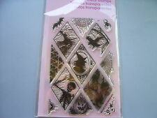 STAMPENDOUS RUBBER STAMPS CLEAR HALLOWEEN DIAMONDS NEW clear SET