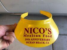 VTG 90's 1992 Nico's Mexican Food Plastic Visor Hat Ocean Beach San Diego CA