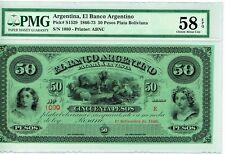 Argentina:  Argentino 50 Pesos 1.9.1866 Pick S1529 PMG Choice About Unc 58 EPQ.