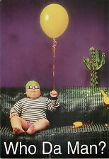 "Who Da Man Computer Giveaway Chubby Boy with Balloon Advertisement Postcard 6x4"""
