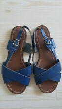 J.Crew Tova Blue Leather Sandals Italy 7 M