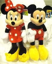 """DISNEY 24"""" MICKEY MOUSE & MINNIE MOUSE RED DRESS COMBO PLUSH TOYS-LICENSED-NEW!"""