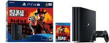 New Sony PlayStation 4 Pro 1TB Red Dead Redemption 2 Console Bundle - Jet Black