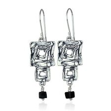 Contemporary Design Multi Squares Dangle Earrings With Black Onyx Cube Beads