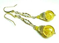 Vintage Venetian yellow Sommerso glass bead earrings to match 1950s necklace