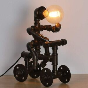 HAITRAL Industrial Table Lamp Retro Steam Punk Robot Lamp,Water Pipe Desk Lamp