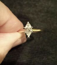 14K Yellow Gold 1/2 Carat CLEAN MARQUISE DIAMOND Solitaire Ring,  Sizeable 6