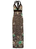 Ladies Halter Neck Dress Maxi Summer Beach Silk Feel Polka Dot Womens New Strap