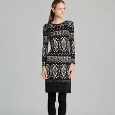 NWT Authentic TORY BURCH *ROSSELLA* Black 100% SILK Knitted SHIFT Dress XS