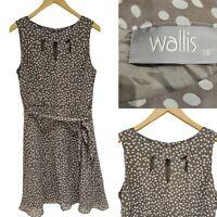 Wallis Dress Size 16 Polka Dot Brown White Sleeveless Fit and Flare.Summer Dress