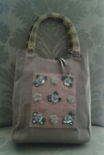 Melissa Ann Cook Couturier Purse Lucite Handles Beige Suede Floral - Small Tote