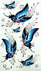 King Horse Blue Butterflies Temporary Tattoos HM410 New Arrival