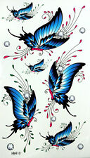 King Horse Blue Butterflies Temporary Tattoos #HM410 New Arrival!!
