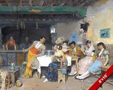 MATADOR DIVERSION AT THE TAVERN SPAIN SPANISH PAINTING ART REAL CANVASPRINT