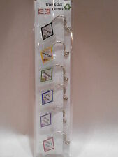 Recycled Frosted Window Glass Wine Charms Set of 6 Single Married Hooked Up Open