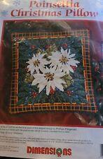 NOS Vintage Dimensions Needlepoint Pillow Kit 9090  CHRISTMAS POINTSETTIA 1994