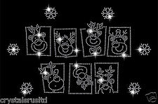 Reindeer heads With Snowflake Crystal Christmas Festive iron on motif applique