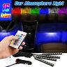4PCS 9LED Car Interior Atmosphere Neon Lights Strip Wireless IR Remote Control