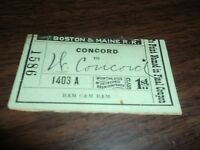 APRIL 1889 BOSTON & MAINE RAILROAD B&M CONCORD TO WEST CONCORD TICKET