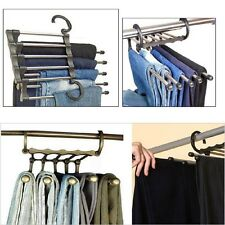 Useful 1Pcs Trousers Pants Hanger Multi-function Retractable Closet 5 in 1 New