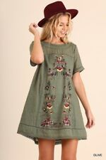 UMGEE Dress Floral Embroidered Peasant Mini A-Line Tunic Boho Casual Shift