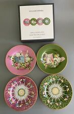 New Boxed Set 4 Williams Sonoma FAMILLE ROSE Porcelain Appetizer Plates Bunnies