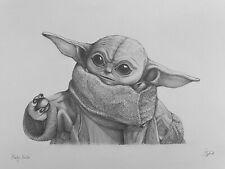 Baby Yoda Starwars Pencil Drawn Fan Art Gift A3 Original SciFi Picture S Tipple