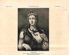 Portrait Cléopâtre VII Théa Philopator au sein nu Peinture de Grèce GRAVURE 1885