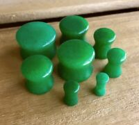 "PAIR Real Green Jade Organic Stone Plugs Gauges 4mm (6g) - 16mm (5/8"") available"