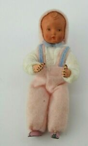 Vintage  Dollhouse Baby Doll Plastic Metal Feet