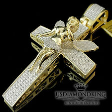 MENS REAL DIAMOND HOLY CROSS ANGEL PENDANT LARGE XL CHARM 10K YELLOW GOLD FINISH