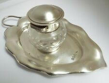 LOVELY DECORATIVE ENGLISH ANTIQUE EDWARDIAN 1902 STERLING SILVER DESK INKSTAND
