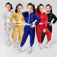 Children's New Hip-Hop Jazz Sequins Performance Costumes Dancewear Top&Pants