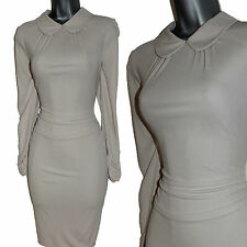 Karen Millen Cream Jersey Peter Pan Collared Long Sleeve Formal Bodycon Dress 14