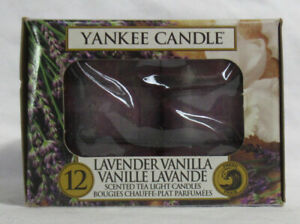 Yankee Candle 12 Scented Tea Light T/L Box Candles LAVENDER VANILLA fresh 4-6hrs