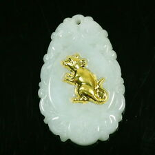 Chinese Zodiac Year Of Rat Mouse 99.99 Gold Leaf Green Pendant Jadeite Jade