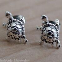 Sterling Silver Box Turtle Tortoise Stud Earrings NEW