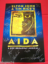 """CAST SIGNED """"AIDA""""""""The Musical"""" Theater Window Card- MINT condtion"""