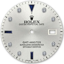 Rolex GMT Master Stainless Steel Silver Color Serti Diamond Sapphire Accent Dial