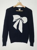 J Crew Womens Sweater Blue White Bow Crewneck Wool Blend Pullover Size Small