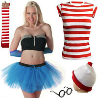 New Womens Ladies Red & White Stripe Fancy Party Dress Costume Book Day special