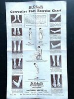 1918 DR SCHOLL'S vintage advertising flyer CORRECTIVE FOOT EXERCISE CHART scarce