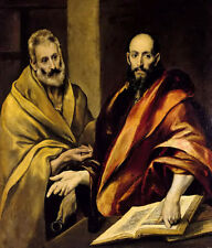 Oil painting El Greco - St Peter and Paul together male portraits on canvas 36""