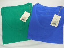 Lot of 2 NWT A New Day Women's Scoop Neck Rayon T-Shirt size M Neon Blue & Green