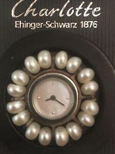 Original Charlotte Ehinger Schwarz Uhr Perlmutt