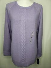 Karen Scott Crew Neck Textured Cable Long Sleeve Sweater Lilac XS # 35