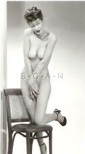Original Vintage 1940s-50s Nude RP- Older Skinny Woman- Stands by Chair- Heels